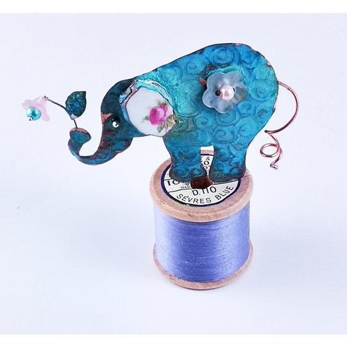 Beastie Assemblage Elephant  with curly tail on Cotton Reel Assemblage 031