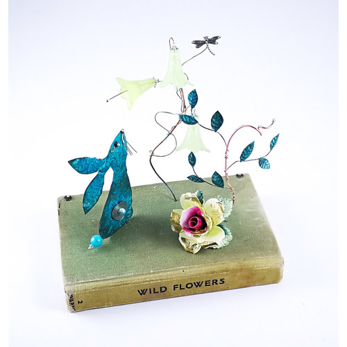 Beastie Assemblage Hare, harebells and rose on book Assemblage 028