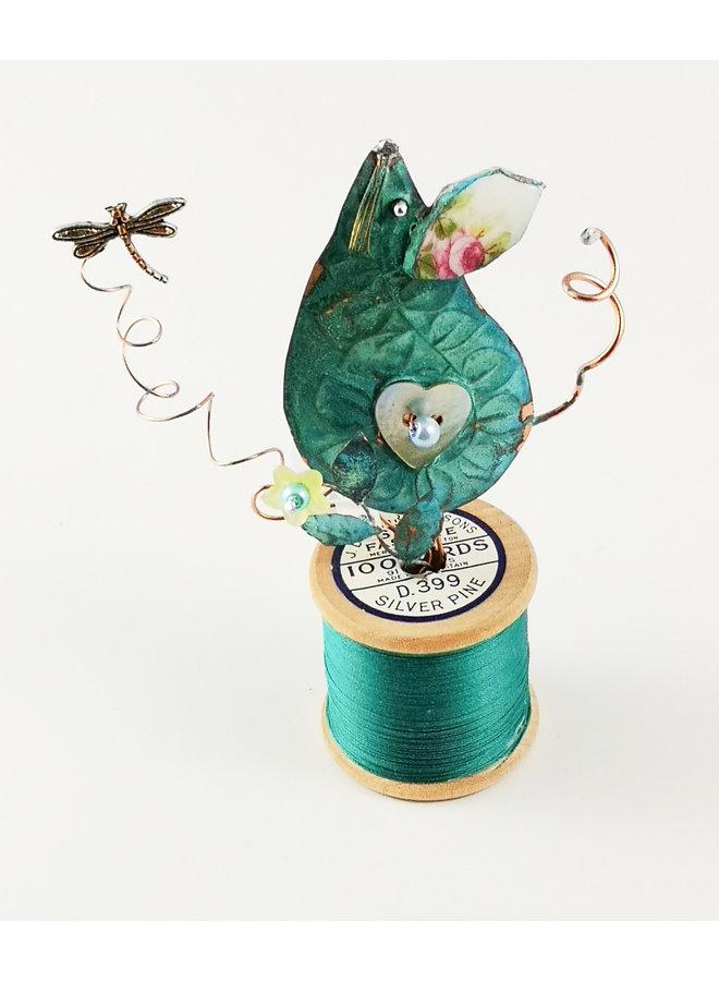 Maus und Libelle auf Baumwollspulen-Assemblage 030