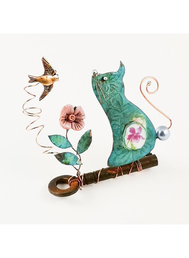Katze mit Vogel auf Schlüssel Assemblage 032