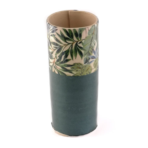 Virginia Graham Green with blue leaves large bud vase 11