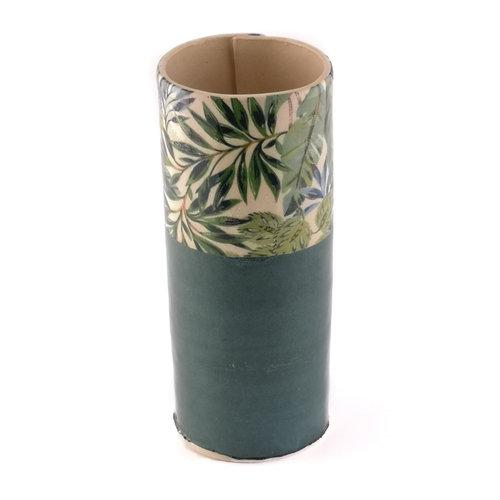 Virginia Graham Verde con hojas azules florero grande 11