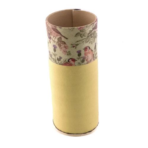 Virginia Graham Yellow with Birds large bud vase 12