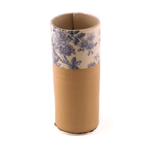 Virginia Graham Beige and blue flower large bud vase 14