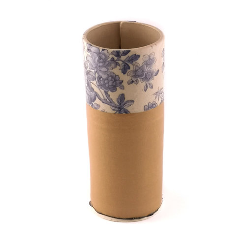 Virginia Graham Beige und blaue Blume große Knospenvase 14