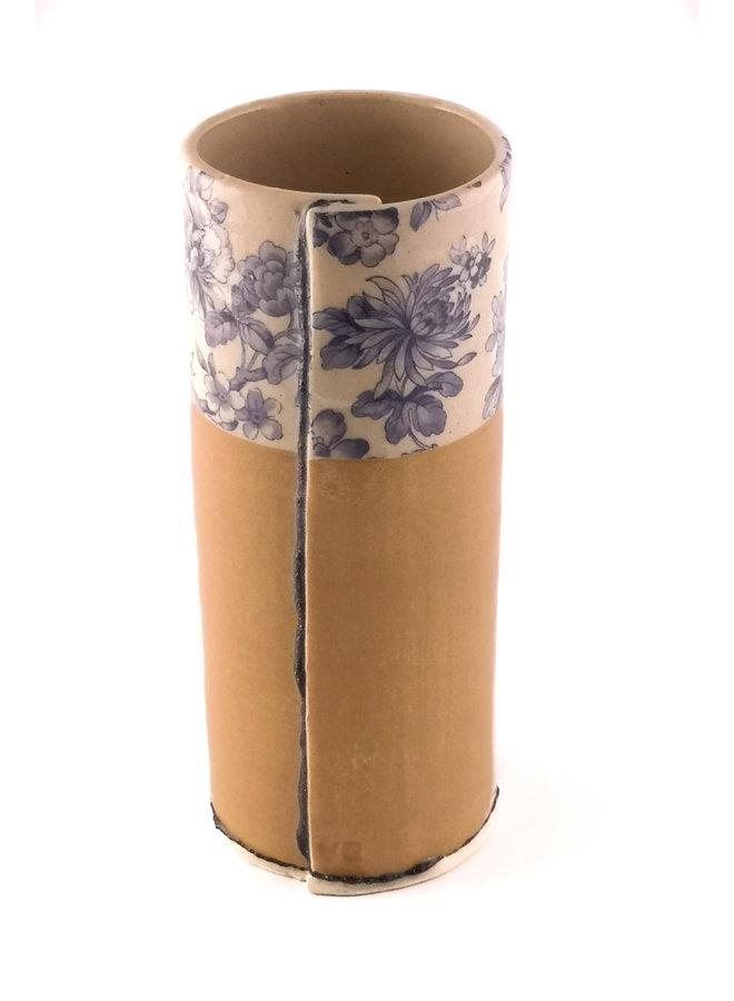 Beige und blaue Blume große Knospenvase 14
