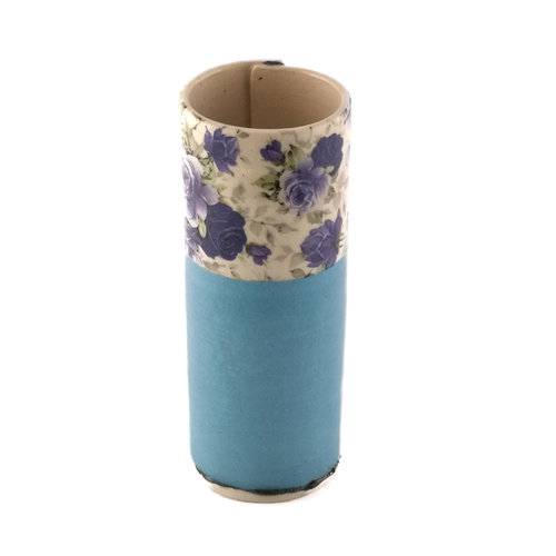 Virginia Graham Blue with blue flowers small bud vase 18