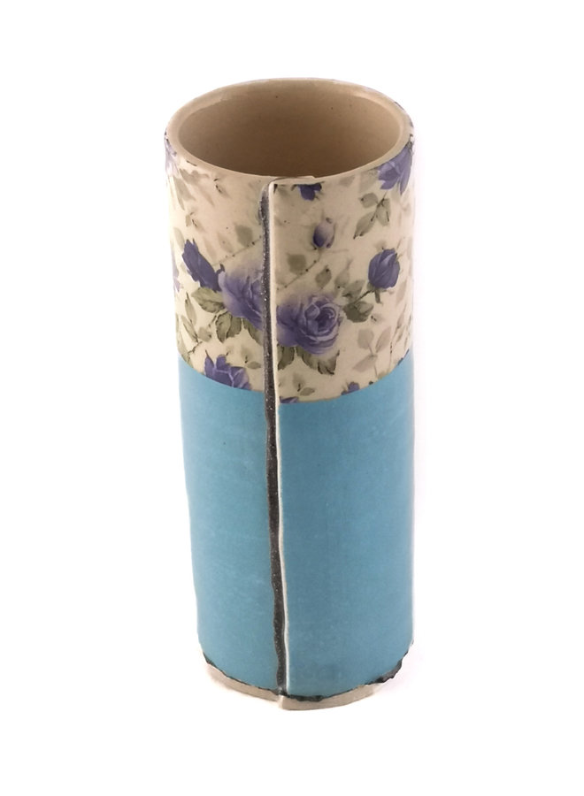 Blue with blue flowers small bud vase 18