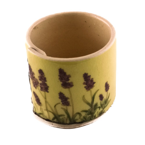Virginia Graham Yellow and lavender tiny planter 01