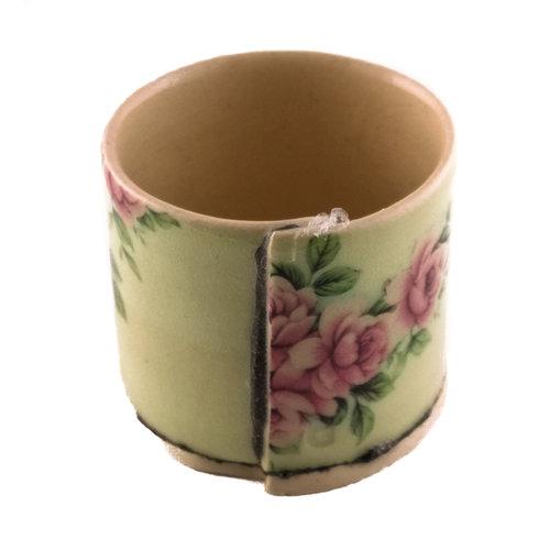 Virginia Graham Grün mit rosa Blumen winziger Pflanzer 05