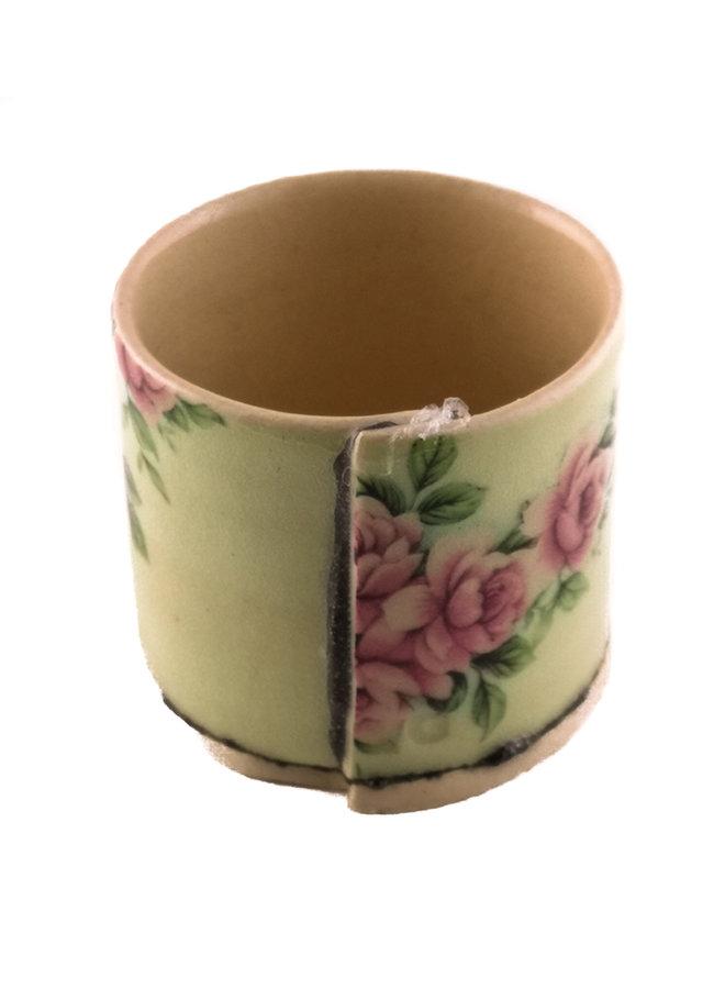 Grün mit rosa Blumen winziger Pflanzer 05