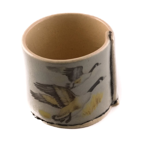 Virginia Graham Grey with flying ducks tiny planter 08