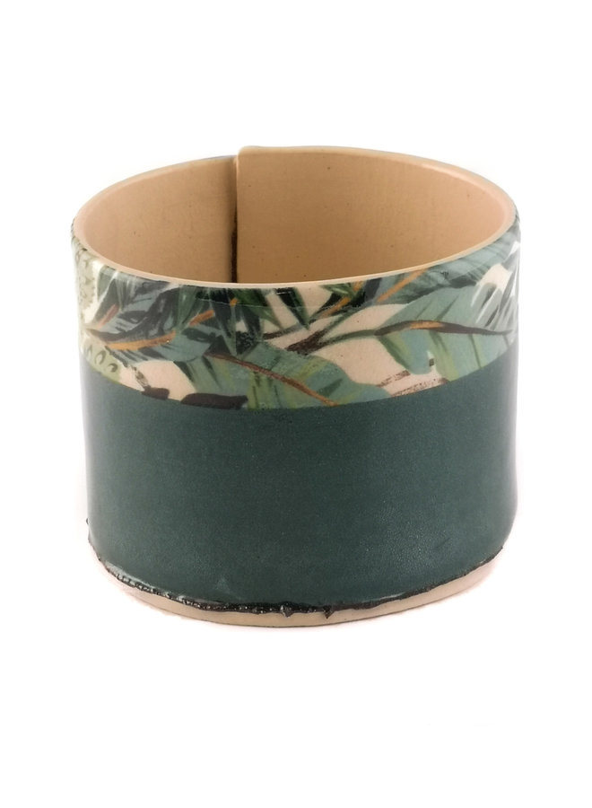 Green with blue leaves medium planter bowl 09