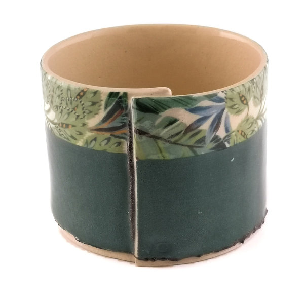 Green with blue leaves medium planter bowl 09