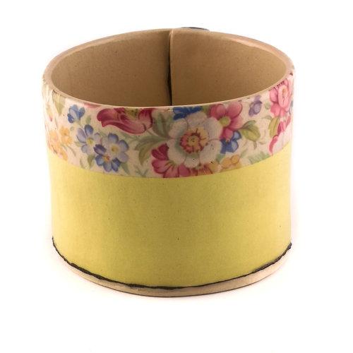 Virginia Graham Yellow with flowers medium planter bowl 10