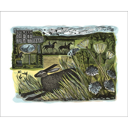 Art Angels Newby Hare card by Angela Harding