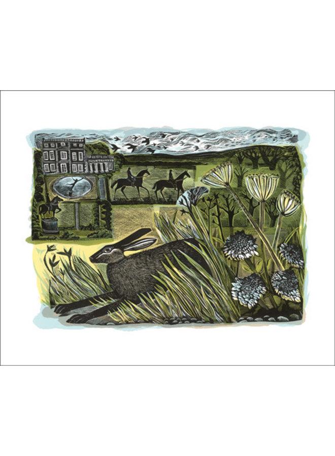 Newby Hare card by Angela Harding