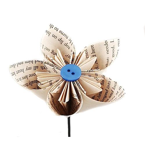 Paris Cheetham Book Script Paper Flower with Centre Colour button 44