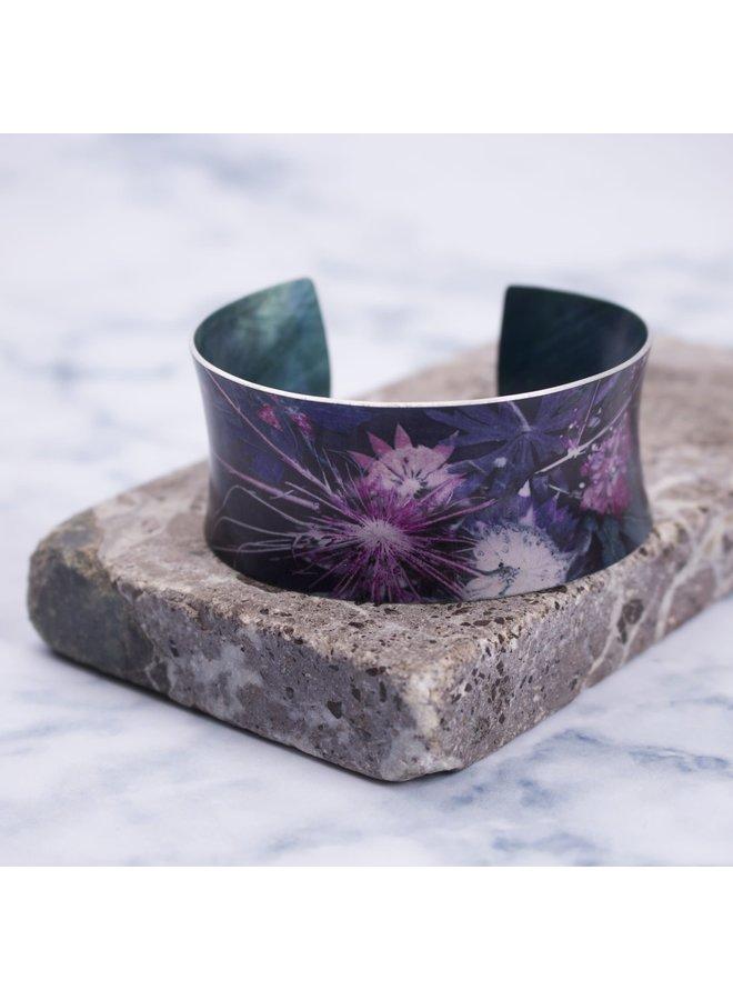 Cuff bracelet blue vine botanical design 14
