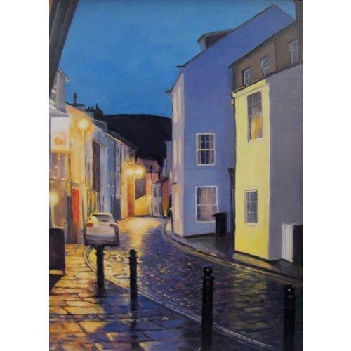 Jane Burgess Noche lluviosa, aceite de Staithes 012
