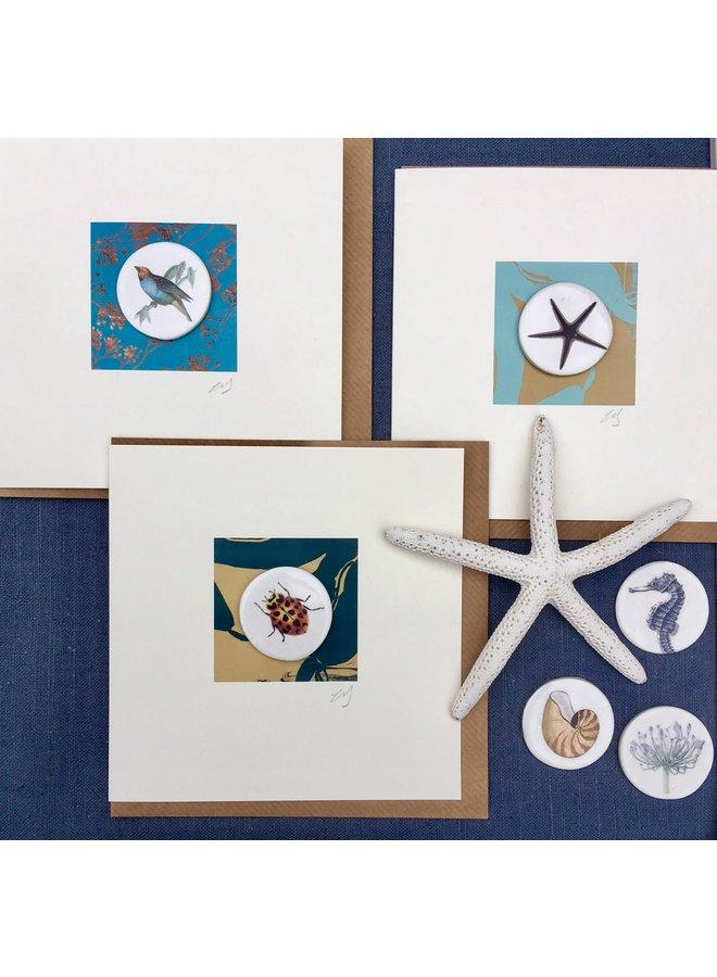 Greenfinch bird handmade card with decorative ceramic disc 006