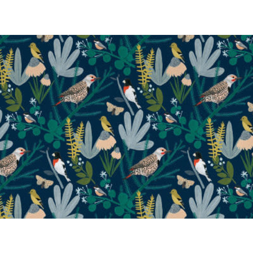 Roger La  Borde Birds in Branches with Night Sky Gift Wrap
