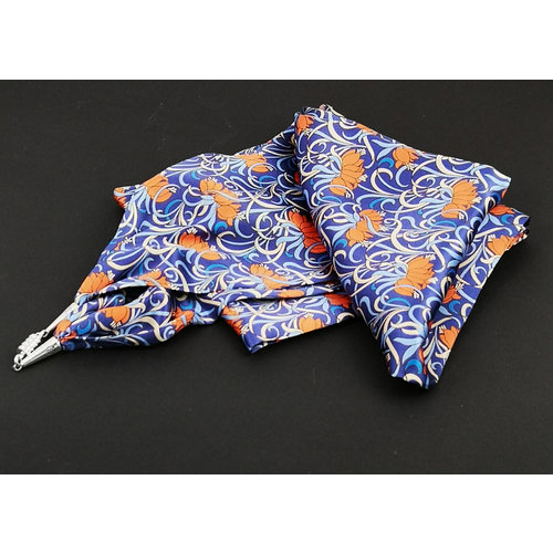 Lady Crow Silks Ylang Ylang Blue Satin and Silk Scarf  with magnetic clasp Boxed 113