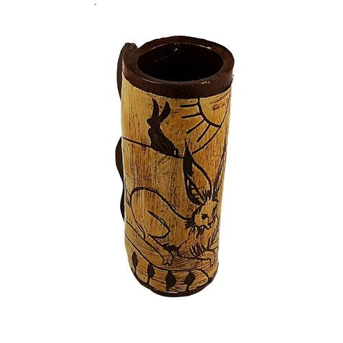 Glandwyryd Ceramics Drei Hasen in der Sonne Slipware Pod Vase 012