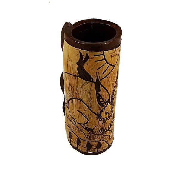 Drei Hasen in der Sonne Slipware Pod Vase 012