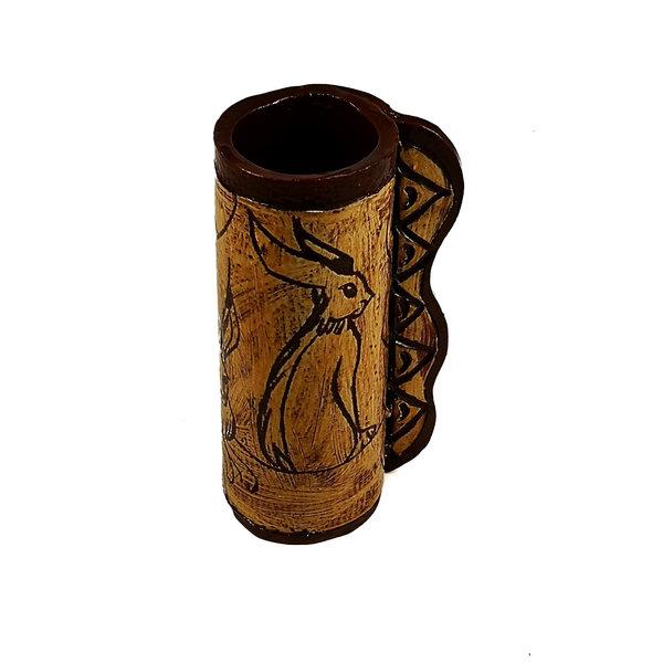 Three Hares in the Sun slipware pod vase  012