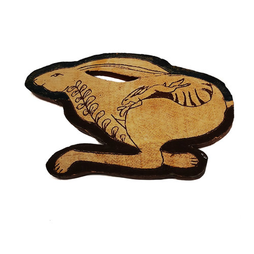 Glandwyryd Ceramics Running Hares with leaves slipware wall relief  019