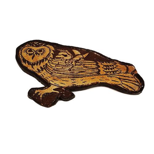 Glandwyryd Ceramics Night Owl slipware wall relief  020