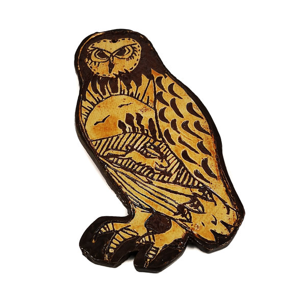 Owl with Hare and Birds slipware wall relief  021