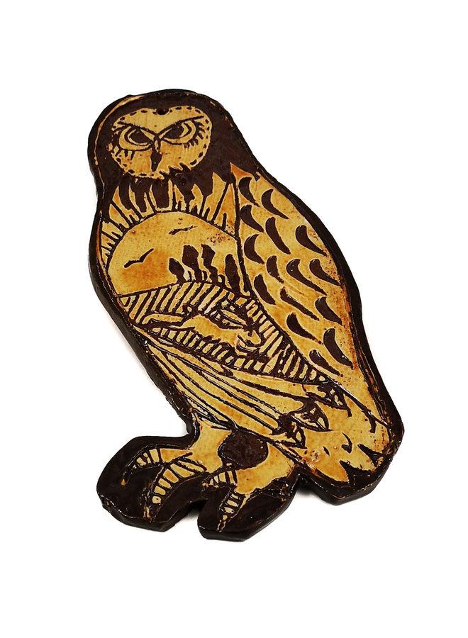 Eule mit Hasen und Vögeln Slipware Wandrelief 021