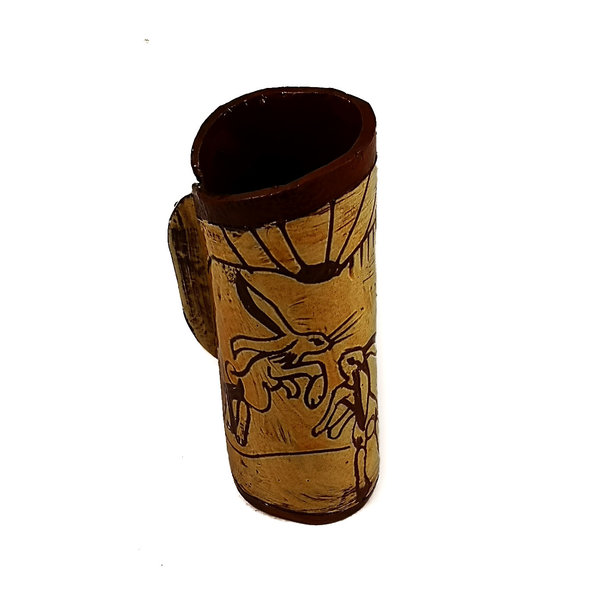 Thre Frolicking Hares Slipware Pod Vase 017