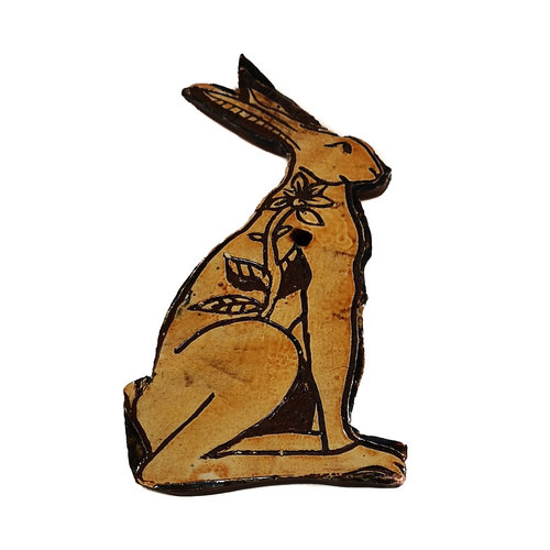 Glandwyryd Ceramics Hare with Sunflower slipware wall relief  022