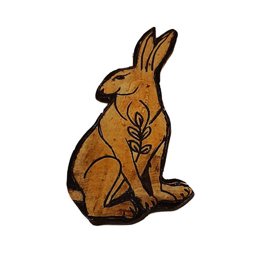 Glandwyryd Ceramics Hare with Leafy Branch slipware wall relief  023