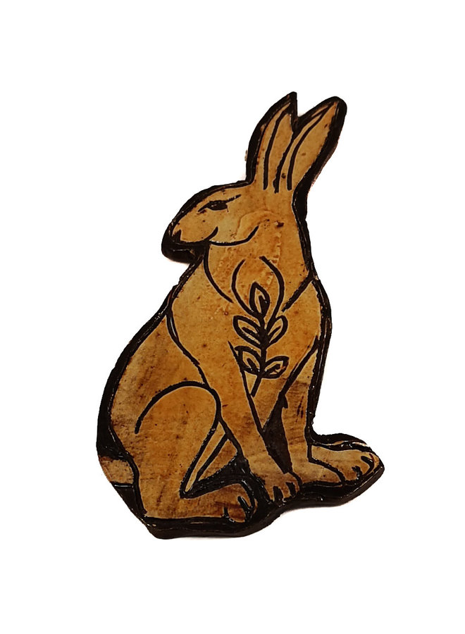 Hare with Leafy Branch slipware wall relief  023