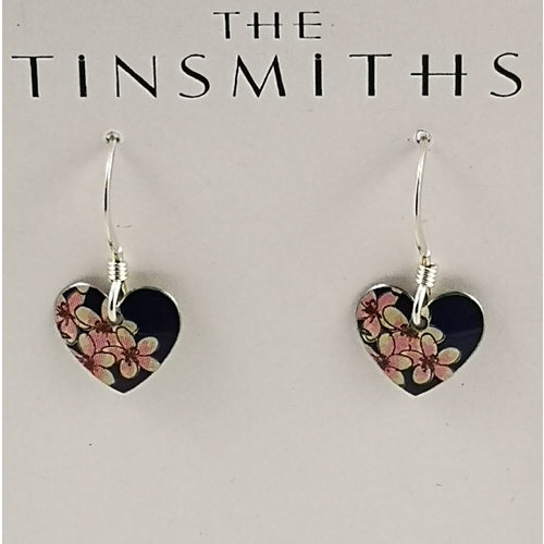 The Tinsmith Cherry tiny heart  tin & silver drop earrings 22