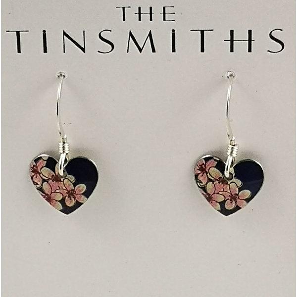 Cherry tiny heart  tin & silver drop earrings 22