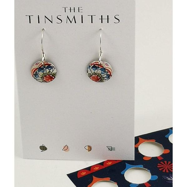 Disc Lotus  tin & silver drop earrings 23