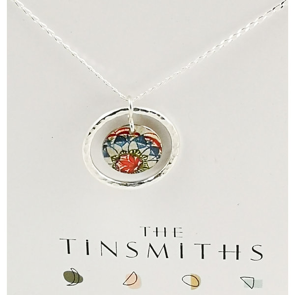 Lotus disc and silver hoop  tin & silver necklace 37