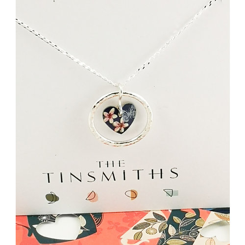 The Tinsmith Cherry Heart and silver hoop  tin & silver necklace 38