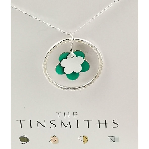 Double  Green Flower and silver hoop  tin & silver necklace 40