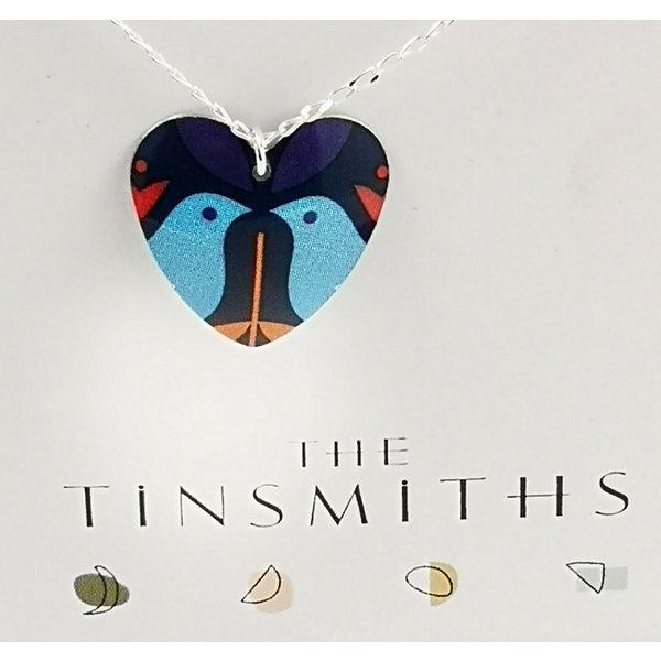 Blue Birds small heart  tin & silver necklace 29