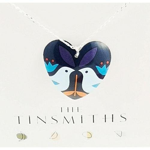 The Tinsmith Blue Birds Large heart  tin & silver necklace 30