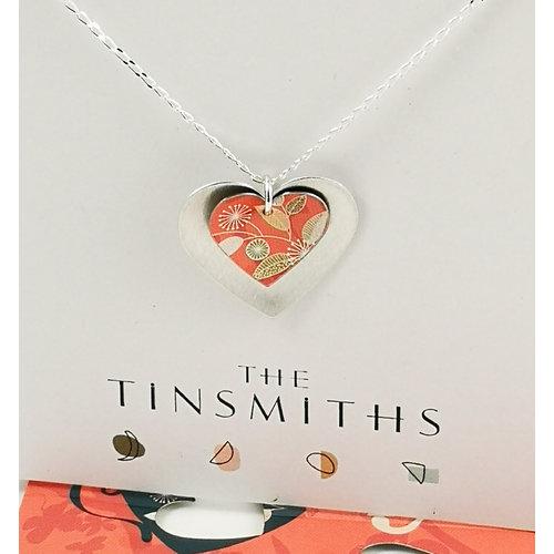 The Tinsmith Doppelherz Zinn & Silber Halskette aus Silber und Koralle 31