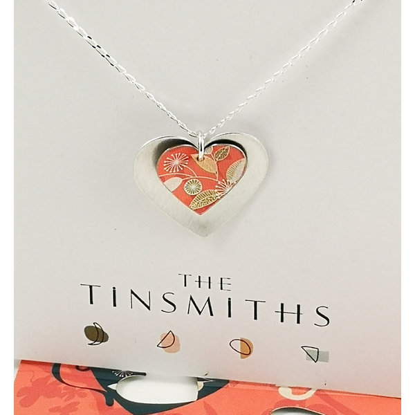 Silver and coral double heart  tin & silver necklace 31
