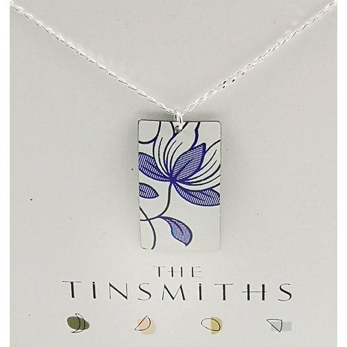 The Tinsmith Italienisches Rechteck Zinn & Silber Halskette 32