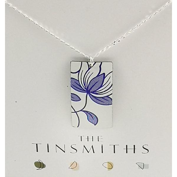Italian rectangle  tin & silver necklace 32